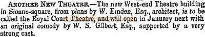 A newspaper cutting from the 20th of November 1870 reports on the building of the first Royal Court Theatre.
