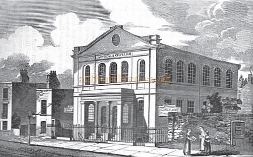 The Ranelagh Chapel, built in 1818, and later converted into the Belgravia Theatre, and later still the Royal Court Theatre - From the book 'An historical and topographical description of Chelsea, and its environs, Volume Two' by Thomas Faulkner 1829.