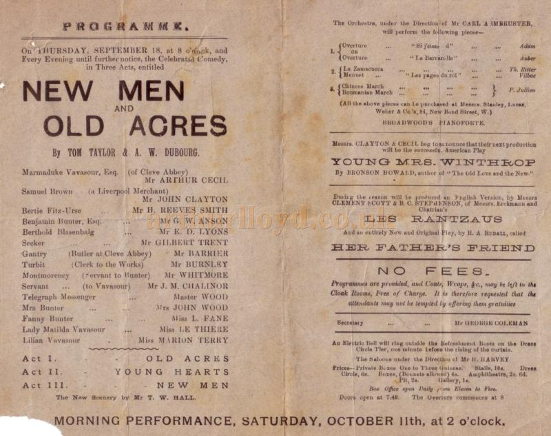 A programme for 'New Men and Old Acres' at the first Royal Court Theatre on Thursday, September the 18th, 1884.