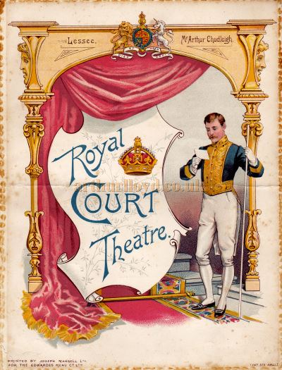 A programme for F. C. Burnand's 'Mrs. Ponderbury' at the present Royal Court Theatre during Arthur Chudleigh's Management of the Theatre.