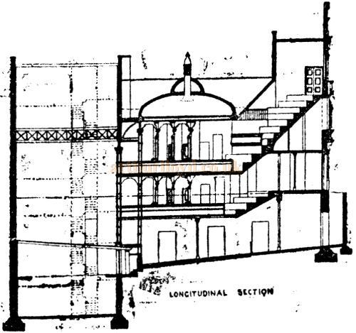 A drawing of the Longitudinal section of the Royal Court Theatre from the designs of Walter Emden and printed in the Pall Mall Gazette, 28th of February 1888.
