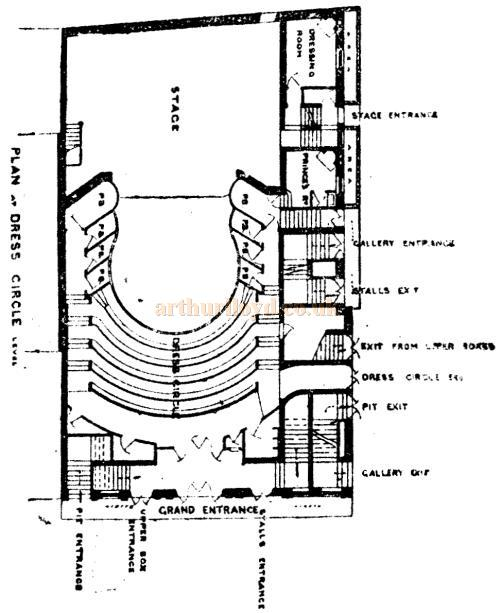 A plan of the Dress Circle of the Royal Court Theatre from the designs of Walter Emden and printed in the Pall Mall Gazette, 28th of February 1888.