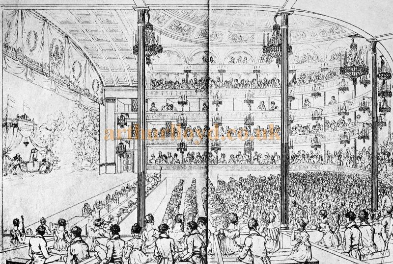 A Sketch showing the Auditorium and Stage of the Second Covent Garden Theatre in 1810 - From the book 'Sheridan to Robertson' By Ernest Bradlee Watson, published in 1926.
