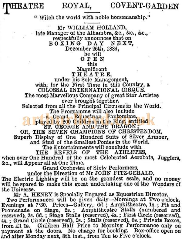 An Advertisement carried in the ERA for William Holland's Grand Circus at the Theatre Royal Covent Garden in December 1884.
