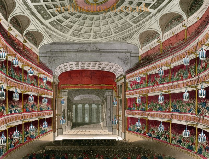 The Auditorium and Stage of the Second Covent Garden Theatre in 1810 - From Microcosm of London.