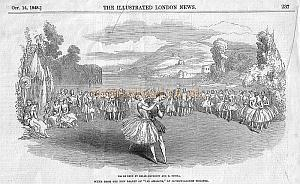 "Scene from The New Ballet of ""Les Amazons,"" At Covent Garden Theatre - From The Illustrated London News of October 14th 1848. Click to see article and enlarged image."