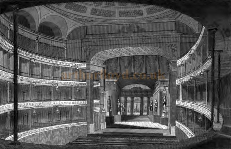 The Auditorium and Stage of the Second Covent Garden Theatre shortly after it opened - From 'The Covent Garden Journal' by Joseph Stockdale, published in 1810.