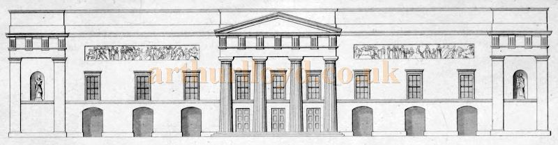 The Elevation of the Principal Front in Bow Street, with its Portico &c., of the Second Covent Garden Theatre - From 'Illustrations of the public buildings of London Vol 1 1825'