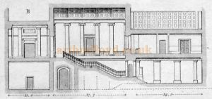 Section through Saloon, or Ante-room, to boxes; staircases to the same, and Entrance Hall, Committee-room, &c - From 'Illustrations of the public buildings of London Vol 1 1825'.