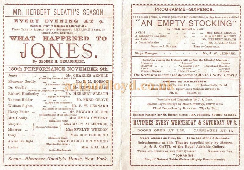 Cast details from a programme for the farce 'What Happened to Jones' which opened at the Royal Strand Theatre in 1897 and ran for 383 performances, and was the last success for J. S. Clarke as manager at the Theatre - Courtesy Peter Ribbons.