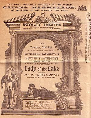 Programme for 'Lady of the Lake' at the Royalty Theatre 1906