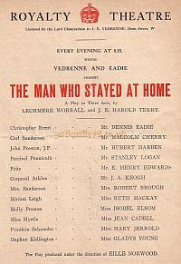 Programme extract for 'The Man Who Stayed Home' which ran for 584 performances at the Royalty Theatre from 1914.