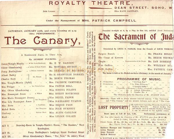 A Programme extract for 'The Canary' and 'The Sacrament of Judas' at the Royalty Theatre Saturday January 27th, 1900.
