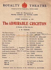 Programme extract for 'The Admirable Crighton' at the Royalty Theatre 1920.