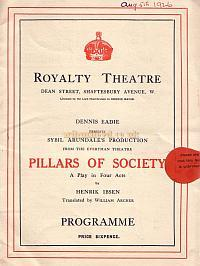 Programme for 'Pillars of Society' at the Royalty Theatre 1926.