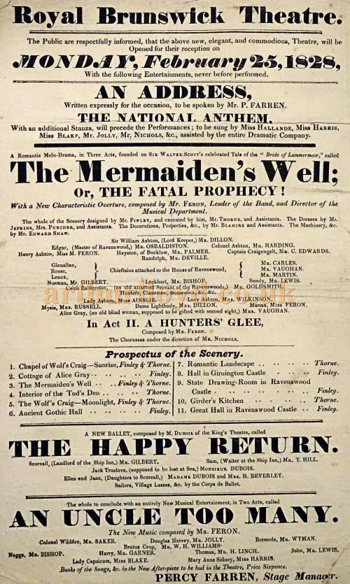 The opening programme for the Royal Brunswick Theatre on the 25th of February 1828 - Courtesy Phil Mernick.