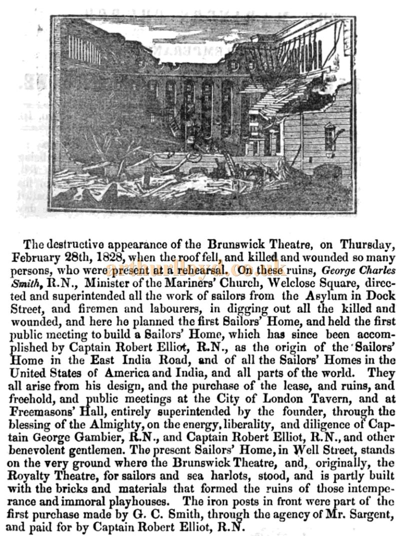 Details of the destruction of the Brunswick Theatre and the building of the sailors' home on the site - From the Mariners' Church Gospel Temperance Soldiers' and Sailors' Magazine of January 1843