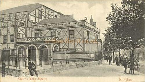 A postcard depicting the first Sadler's Wells Theatre.