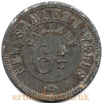 An early Entrance Token for the Gallery of the Sadler's Wells Theatre - Courtesy Alan Judd
