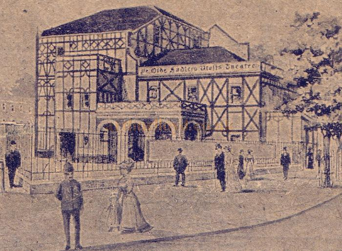 A sketch of the first Sadler's Wells Theatre from a 1910 programme for 'The Harbour Lights'.