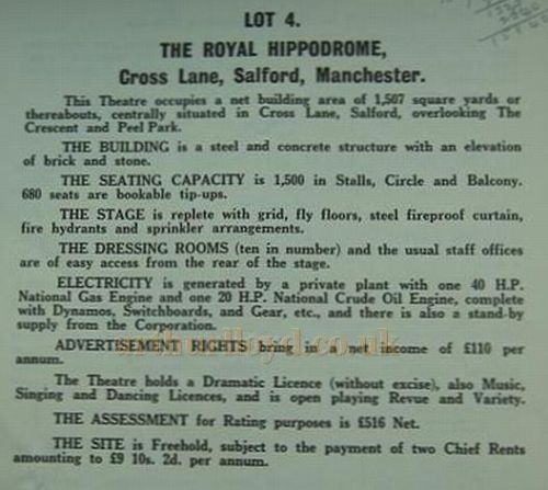 In 1931 William Broadhead died and the following year the Hippodrome was put up for auction, along with the other Theatres in the Broadhead Circuit, here details of the Lot for the Hippodrome are shown.