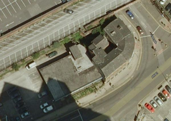 The former Canterbury Hall from above, 12-14 Chapel Street, Salford, 2008. (c) Google 2012.
