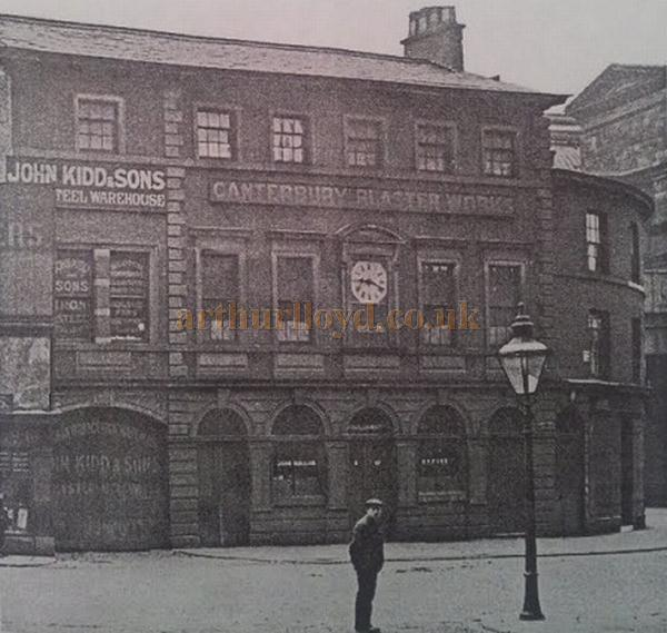 The Canterbury Plaster Works, the former Canterbury Hall, Chapel Street, Salford, 1930 - Courtesy Dan at Pubs of Manchester - Past & Present.