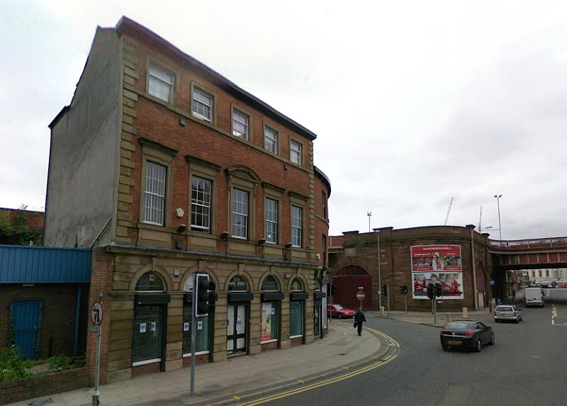 A Google StreetView image of the former Canterbury Hall, Salford - Click to Interact
