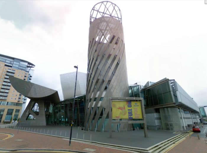 A Google StreetView image of the Lowry Centre, Salford - Click to Interact