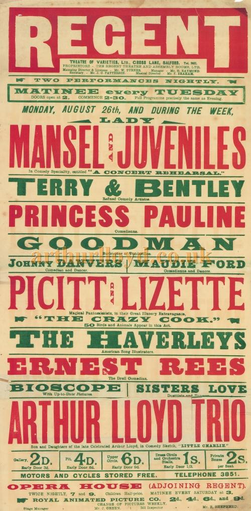 A Poster for a variety production at the Regent Theatre of Varieties, Salford in 1907. - Click to Enlarge.