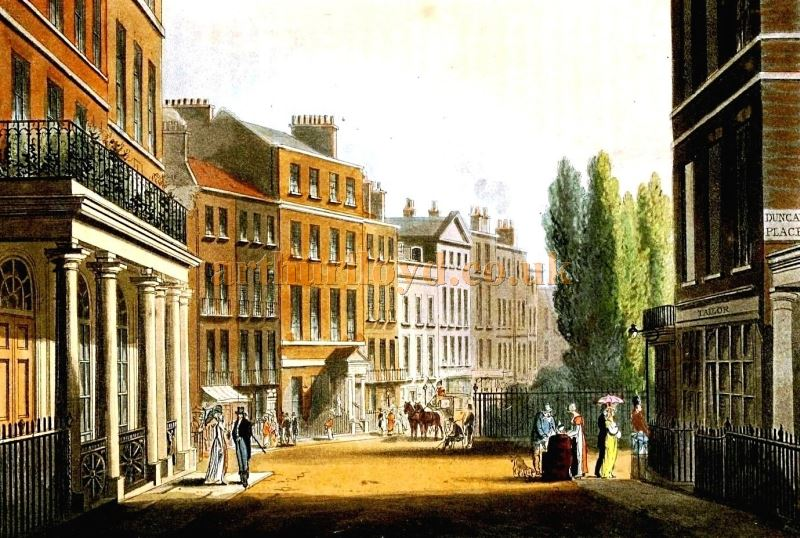 Leicester Square from Leicester Place, showing the Exterior of the former Sans Souci Theatre to the near left - From 'The Repository of arts, literature, commerce, manufactures, fashions and politics' by Rudolph Ackermann, published in January 1812.