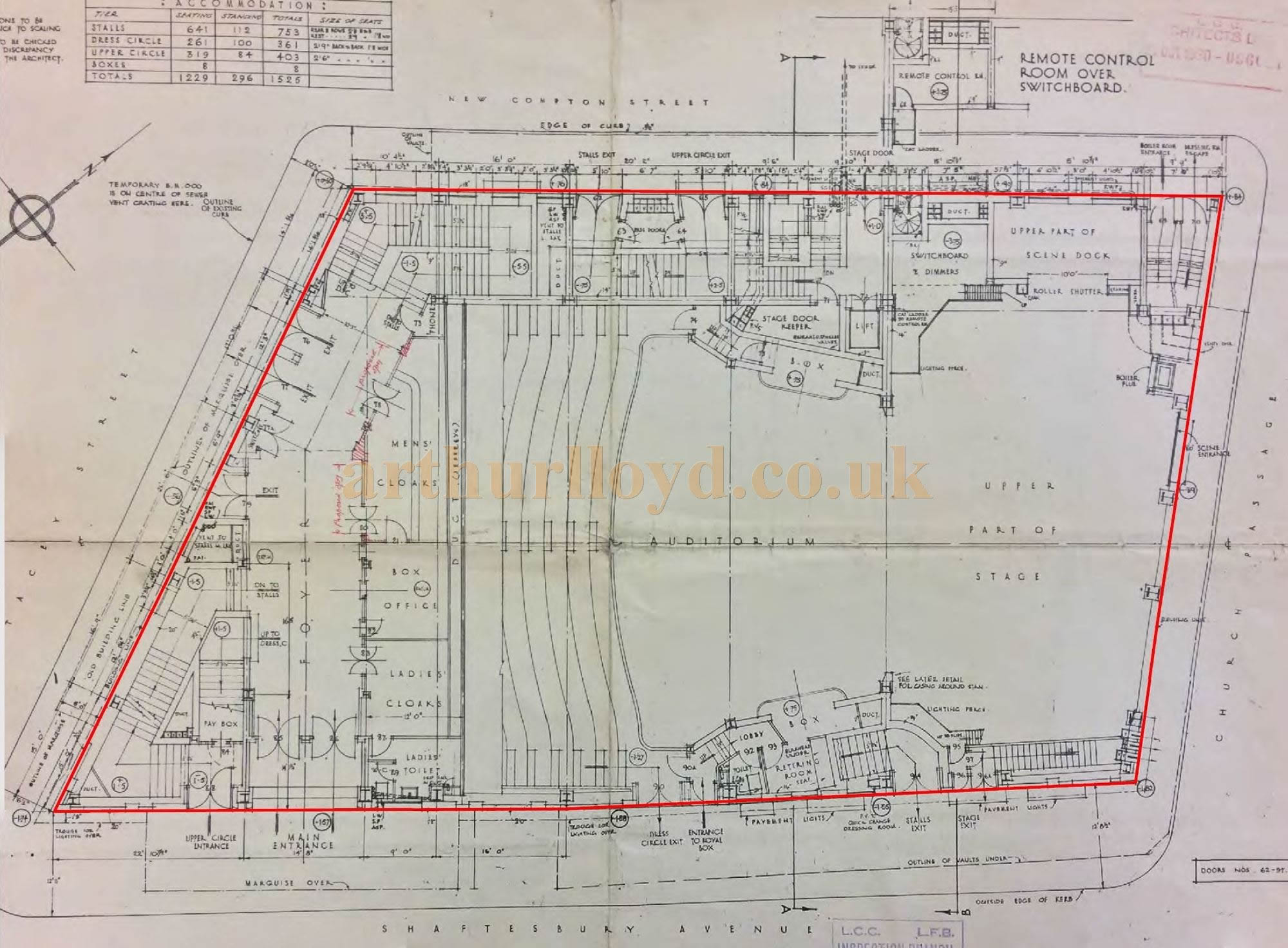 A 1930's Street Level Plan for the former Saville Theatre.