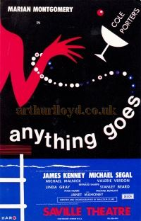 A Flyer for Cameron Mackintosh's 'Anything Goes' at the Saville Theatre in 1969 - Courtesy Martin Clark.