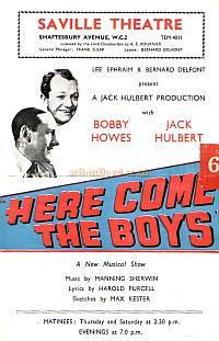 Programme for 'Here Come The Boys' in 1946 when Bernard Delfont had taken over the management of the Saville Theatre.