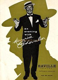 Programme for 'An Evening With Maurice Chevalier' which was on at the Saville Theatre for a limited season in 1962.