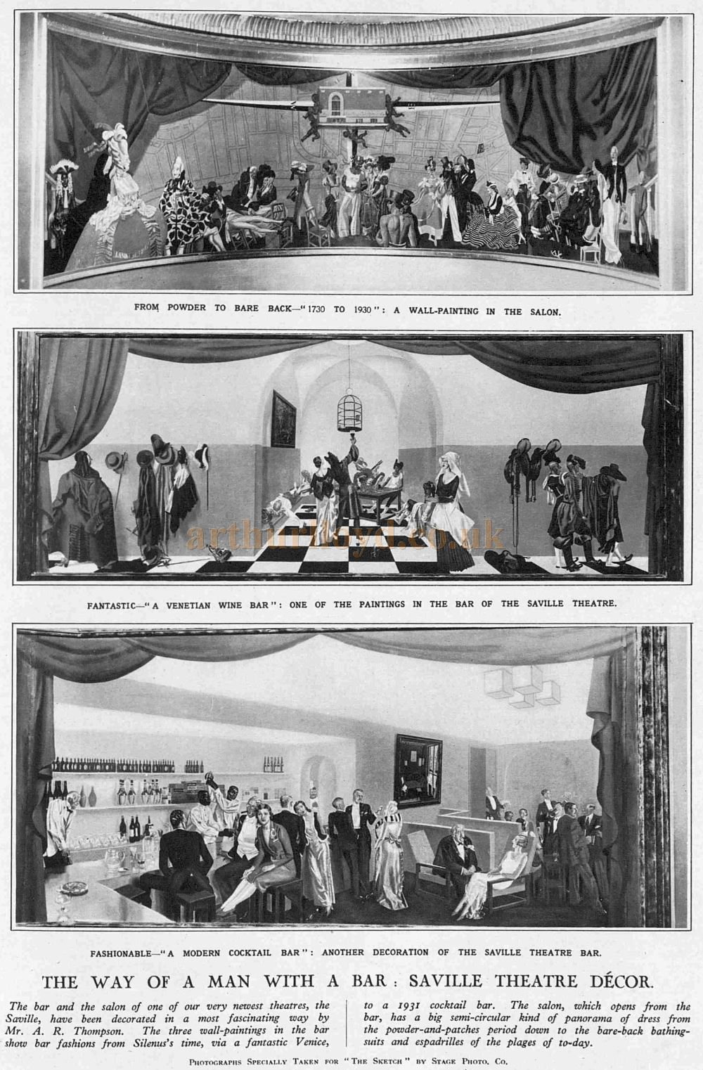 Three Wall Paintings by A. R. Thompson situated in the Bar and Saloon of the Saville Theatre for its opening in 1931 - The Sketch, October 14th 1931.