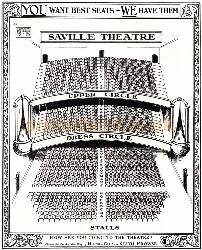A Seating Plan for the Saville Theatre from the pre-computerised days of manual ticketing - Courtesy Martin Clark and Doreen Gould.