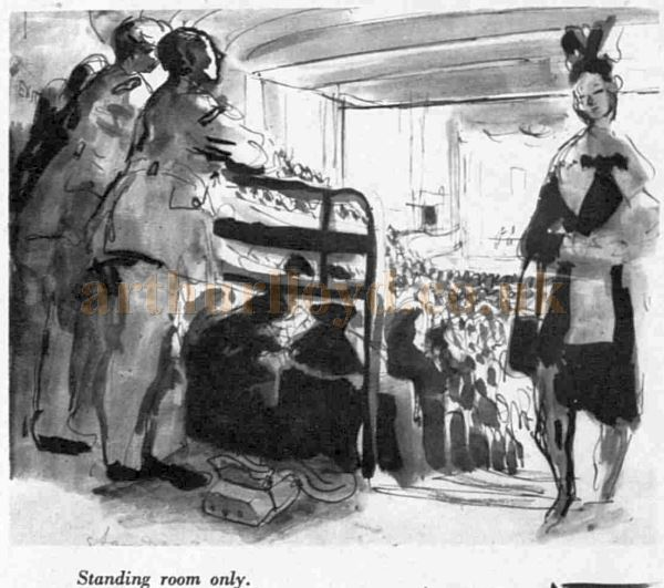 A Topolski Sketch showing standing room the Saville Theatre - From an article in The Sketch, May 8th 1940.