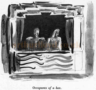 A Topolski Sketch showing a box at the Saville Theatre - From an article in The Sketch, May 8th 1940.