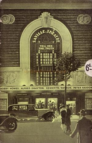A programme for the second production at the Saville Theatre in June 1932, 'Tell Her the Truth.'