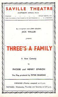 Programme for Three's A Family' at the Saville Theatre.