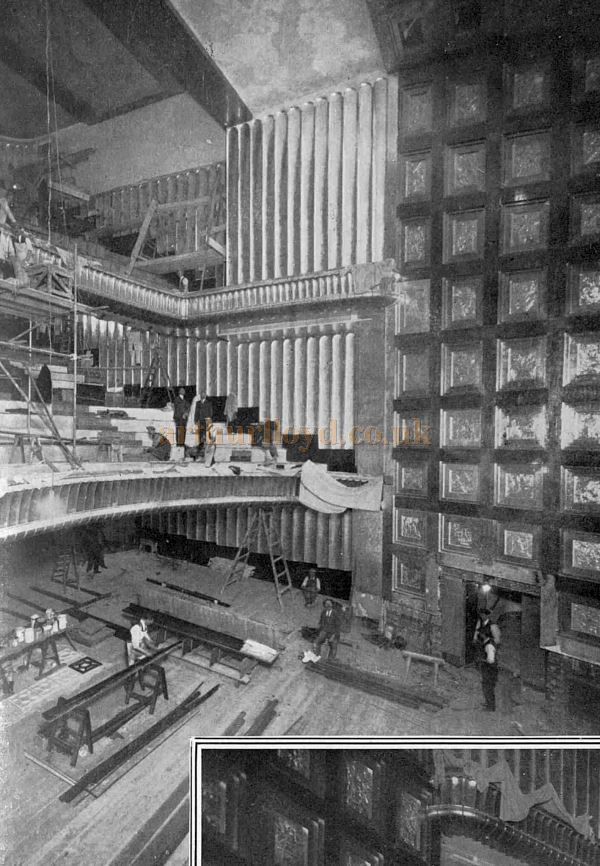 Finishing touches being made to the Auditorium of the Savoy Theatre before its opening on the 24th of October 1929 - From The Sphere, October 19th 1929.