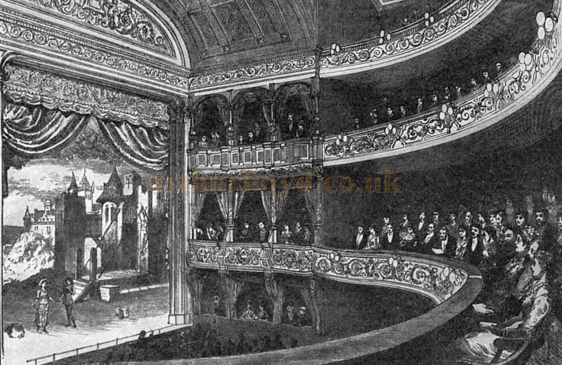 The Auditorium and Stage of the Savoy Theatre when it was opened with a production of 'Patience' in 1881.