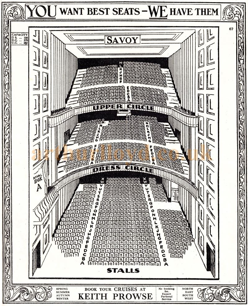 A Seating Plan for the Savoy Theatre's auditorium before the fire of 1990. The plan is from the pre-computerised days of manual ticketing - Courtesy Martin Clark and Doreen Gould.