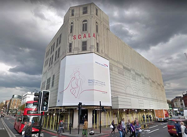 A Google StreetView Image of the Scala, King's Cross, formerly the King's Cross Theatre, whilst undergoing refurbishment - Click to Interact.