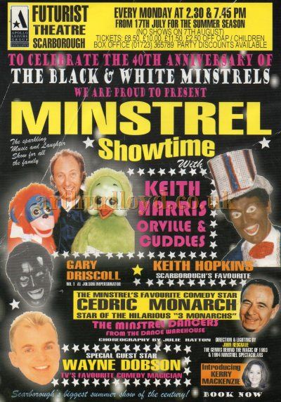 A Poster for 'Minstrel Showtime' celebrating the 40th anniversary of 'The Black & White Minstrels', at the Futurist Theatre, Scarborough - Courtesy Keith Hopkins.