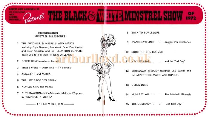 Details from a programme for 'The Black & White Minstrel Show of 1972' at the Futurist Theatre, Scarborough.