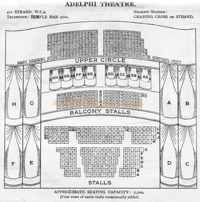 A Seating Plan for the Adelphi Theatre - From 'Who's Who in the Theatre' published in 1930 - Courtesy Martin Clark. Click to see more Seating Plans from this publication.