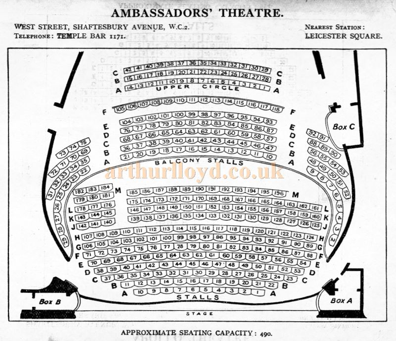 A Seating Plan for the Ambassadors' Theatre - From 'Who's Who in the Theatre' published in 1930 - Courtesy Martin Clark. Click to see more Seating Plans from this publication.