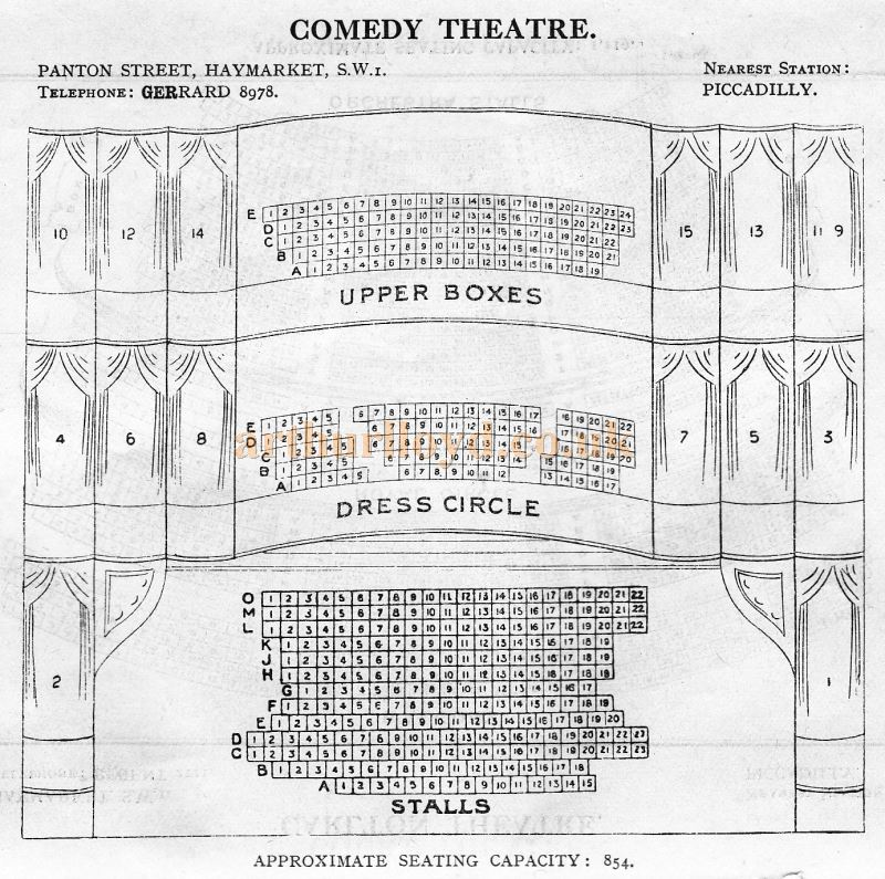 A Seating Plan for the Comedy Theatre - From 'Who's Who in the Theatre' published in 1930 - Courtesy Martin Clark. Click to see more Seating Plans from this publication.